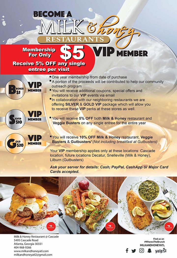 Milk & Honey, Gutbusters & Veggie Busters VIP Cards image