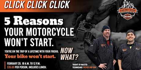 Click Click Click, 5 Reasons Your Motorcycle Won't Start tickets