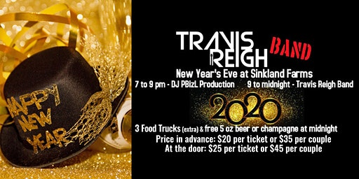 New Years Eve Party with Travis Reigh Band and DJ PBizL at Sinkland Farms