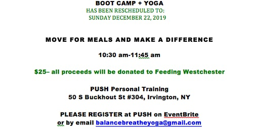 BOOT CAMP + YOGA (to benefit Feeding Westchester)