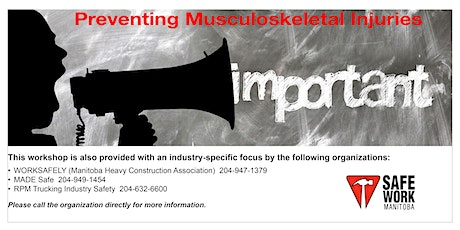 Preventing Musculoskeletal Injuries  - Brandon, MB tickets