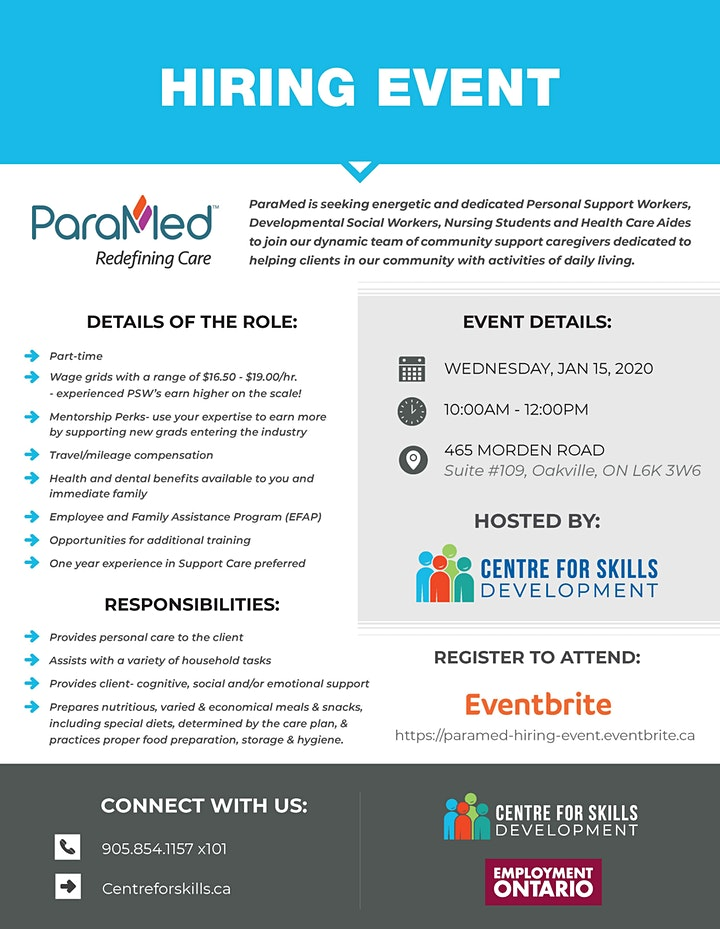 PARAMED HIRING EVENT   JANUARY 15, 2020 image
