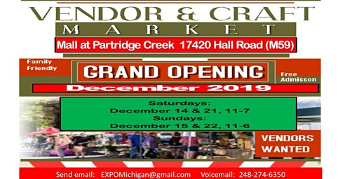 Vendors Wanted, Direct Sales, Exhibitors - Partridge Creek Mall, Dec 14, 15, 21, 22, all 4 days $149