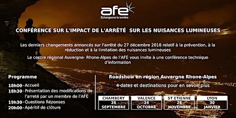 Jeudi 30 janvier 2020 - AFE : Conférence technique d'information sur les derniers changements de  l'arrêté sur les nuisances lumineuses billets