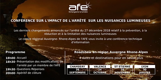 Jeudi 30 janvier 2020 - AFE : Conférence technique d'information sur les derniers changements de  l'arrêté sur les nuisances lumineuses