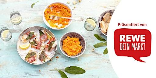 REWE Koch-Workshop: Kabeljau-Saltimbocca mit Süßkartoffelpüree