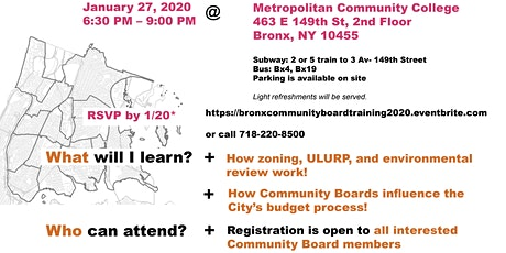 Department of City Planning's Training for Community Board Members, 2020 tickets