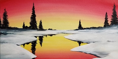 Winter Sunset Paint Party at Brush & Cork