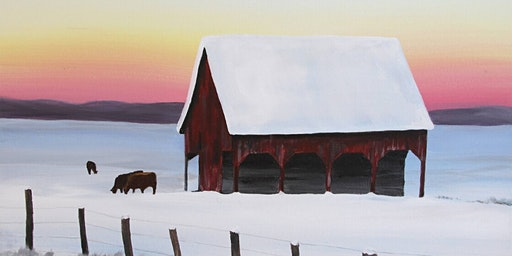 Snowy Barn and Cows Paint Party at Brush & Cork