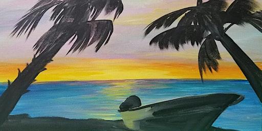 Sunset Beach Paint Party at Brush & Cork