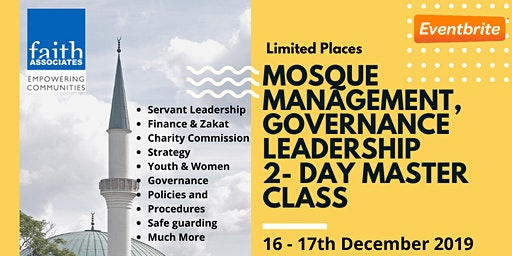 Mosque Management, Governance and Leadership training - 2 day masterclass