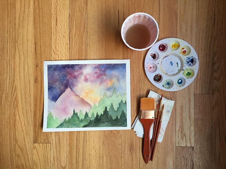 Watercolors Made Easy: Milky Way Mountains image
