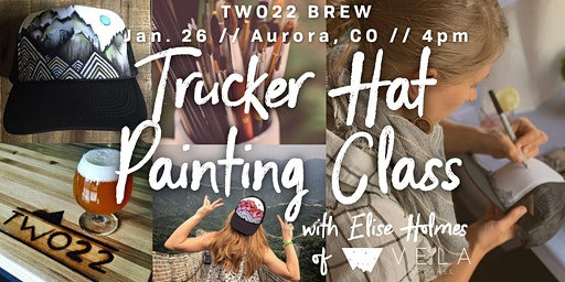 Trucker Hat Painting Class at Two22 Brew