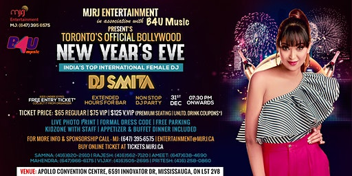 New Year's Eve NYE 2020 - Toronto's Official Bollywood DJ Event with DJ Smita