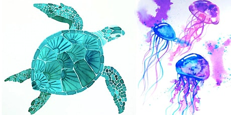 Underwater Watercolour Adult Workshop - Sea turtles and jellyfish tickets