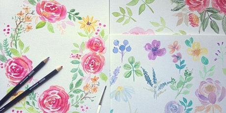 Roses & Florals with Watercolour & pencils - Workshop for adults tickets