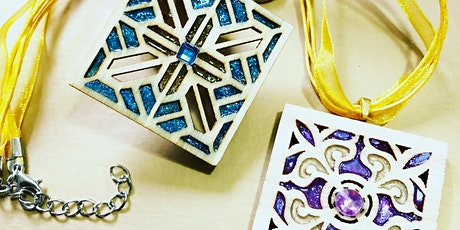 Adult Wood Stained Glass Style Jewellery and Keyring Workshop tickets