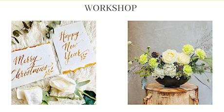 Brush Calligraphy x White Christmas Flower Arrangement Workshop tickets