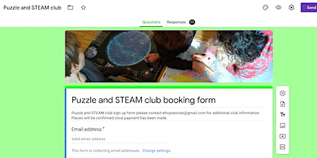 Puzzle and STEAM club Tuesday and Friday after school 15.15 - 17.30 tickets