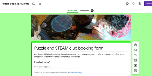 Puzzle and STEAM club Tuesday and Friday after school 15.15 - 17.30