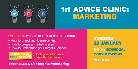1-1 Advice Clinic: Marketing tickets