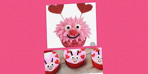 Valentine's Day cupcake decorating