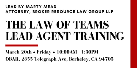 Law of Teams - Lead Agent Training with BRLG tickets