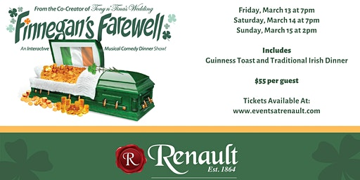 Finnegan's Farewell at Renault Winery Resort | Friday, March 13th