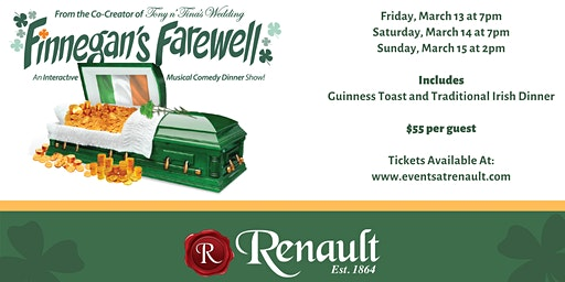 Finnegan's Farewell at Renault Winery Resort | Saturday, March 14th