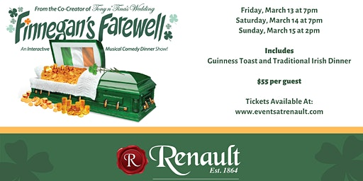 Finnegan's Farewell at Renault Winery Resort | Sunday, March 15th