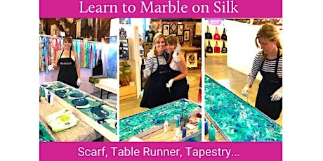 "Learn to Marble on Silk - 14"" x 72"" Scarf, Table Runner or Wall Tapestry  (03-21-2020 starts at 7:00 PM) tickets"