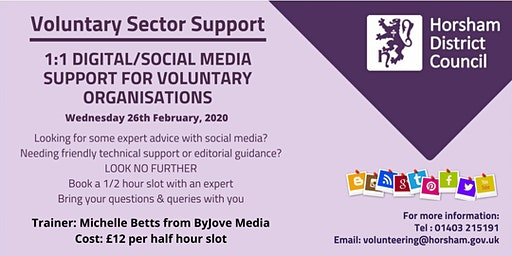 1:1 Social Media and Website Support Sessions.  Book a half hour time slot.