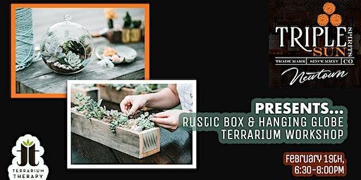 Rustic Succulent Box and Hanging Globe Terrarium Workshop at Triple Sun