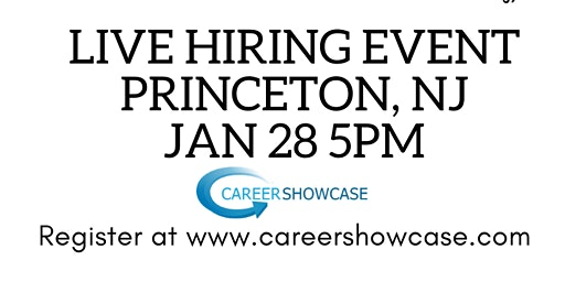 Tomorrow New career Jan 28 Princeton Hyatt Regency @5pm. Many New Career Opportunities.
