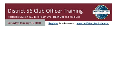 District 56 Division N  Club Officer Training @ MD Anderson  (9am-1pm) tickets