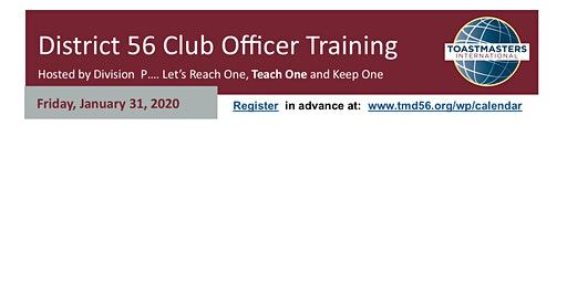 District 56 Division P  Club Officer Training  in Galveston   (6pm-8:45pm)