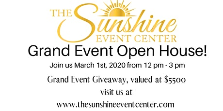 The Sunshine Open House & Grant Event Giveaway tickets