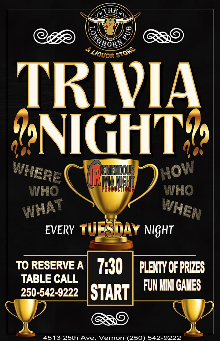 Tuesday Night Trivia at The Longhorn Pub in Vernon! image