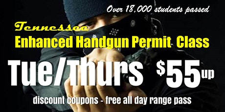 TUES/THURS Enhanced Handgun Carry Permit Class w/ Range Pass tickets