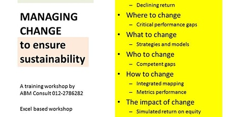 MANAGING CHANGE  for sustainable growth tickets