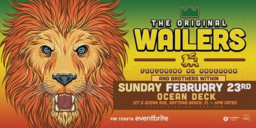 THE ORIGINAL WAILERS  W/ BROTHERS WITHIN- DAYTONA BEACH (Oceanfront)