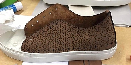 Handmade leather trainer class with laser etched customisation tickets