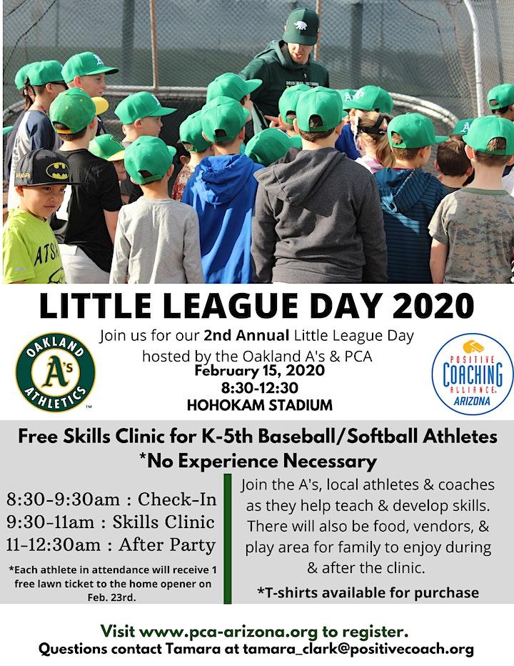 Little League Day 2020: Oakland A's & PCA-AZ Baseball/Softball Clinic image