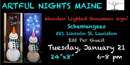 Wooden Lighted Snowman Sign at Schemengees Lewiston