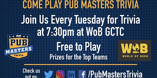 Pub Masters Trivia LIVE at World of Beer -Gulf Coast Town Center - Ft Myers