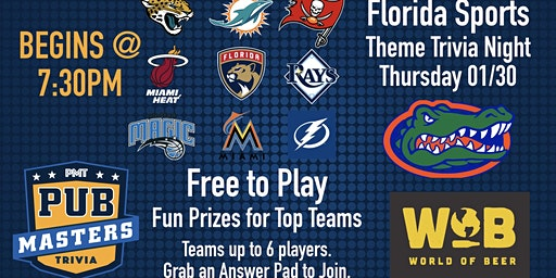 Florida Gator Sports - Themed Trivia - World of Beer - Gainesville - 34th!