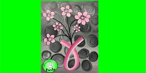 PAINTIN' PARTY with KAT: Pink Ribbon Vase (ACRYLIC PAINTING on CANVAS)