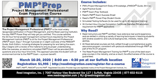 PMP Power Prep - Suffolk, VA - March 16-20, 2020