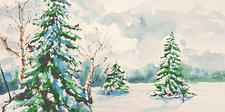 Learn how to paint a winter evergreen watercolor scene - Mathieu Hebert tickets