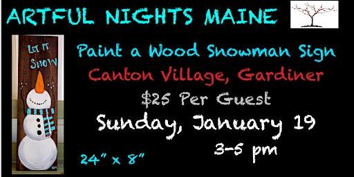 Wood Snowman Sign at Canton Village